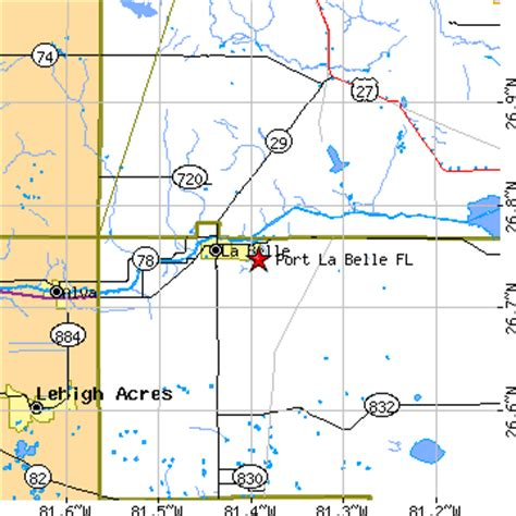 where is labelle florida in the map port la florida fl population data races