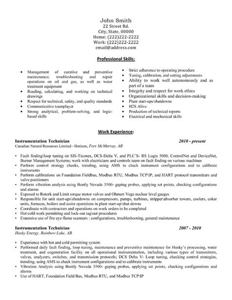 Instrumentation Technician Cover Letter by Instrumentation Technician Resume Template Premium Resume Sles Exle