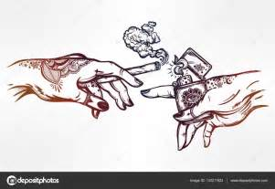 hands with weed joint or cigarette and a lighter stock