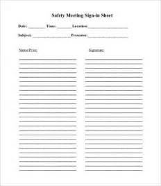 Safety Meeting Sign In Sheet Template by Safety Meeting Sign In Sheet Vertola