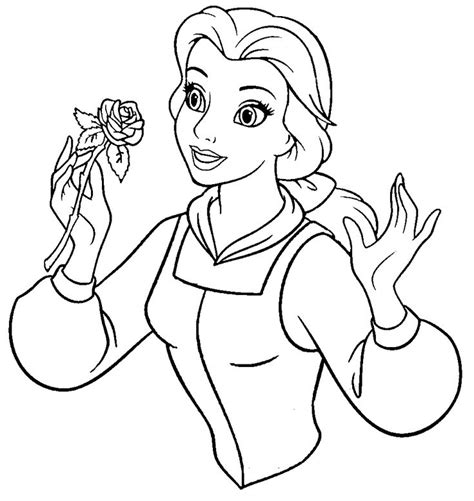 coloring pictures of belle from beauty and the beast beauty and the beast belle hold a sprig of flowers