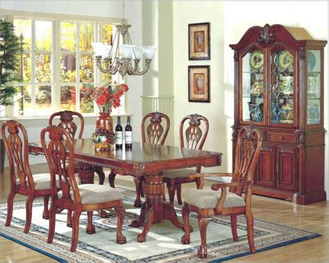 7pc formal dining room set in classic cherry mcfd5004 mcferran home furnishings 7pc formal dining room set in