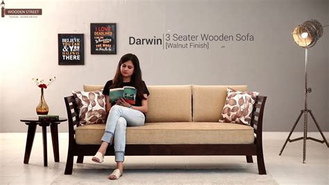 3 Seater Wooden Sofa by Wooden Sofa Buy Darwin 3 Seater Sofa In Walnut Finish