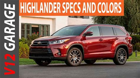 toyota highlander colors 2018 toyota highlander changes colors and specs