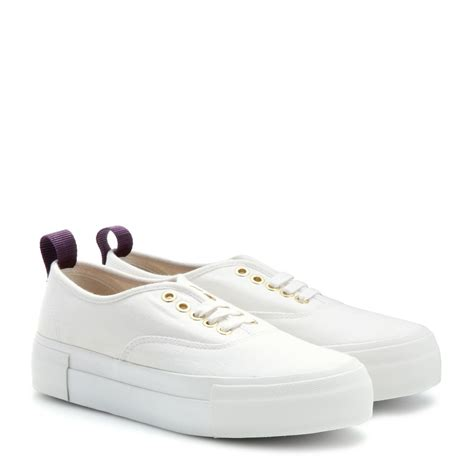 platform white sneakers eytys canvas platform sneakers in white lyst