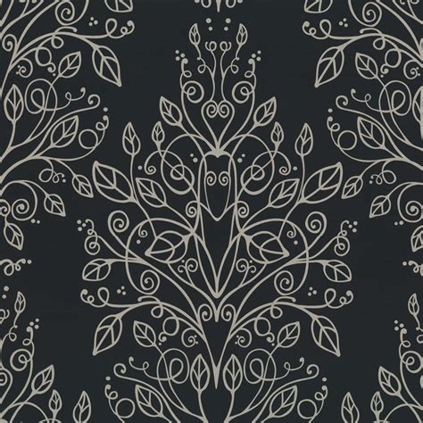 Black Silver Embedded Surface Styling graham brown designer feature wallpaper charcoal
