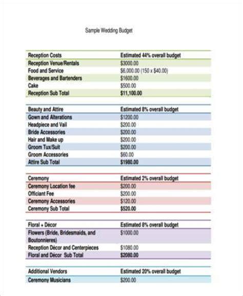 wedding budget form sle wedding budget forms 7 free documents in word pdf