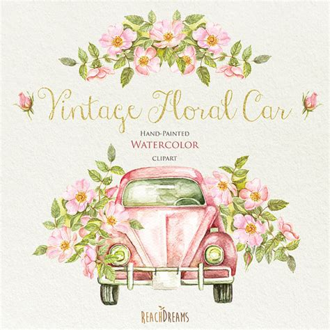 Set Floral 116 Busui Quality watercolor vintage floral car with rustic roses wedding
