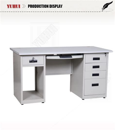 Light Grey Steel Cpu Storage Locking Drawers Office Computer Desk With Locking Drawer