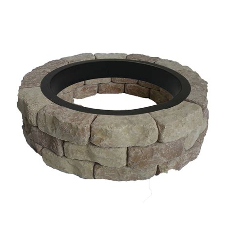 Lowes Outdoor Firepit Shop Allen Roth Sand Beige Flagstone Pit Patio Block Project Kit At Lowes