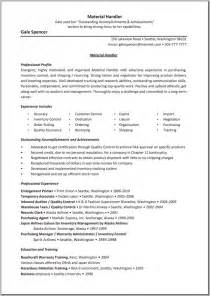 Material Handler Resume Example Material Handler Resume Template Great Resume Templates