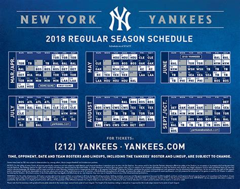 Yankees Printable Schedule