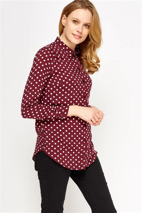 Polka Shirt 01 Polka Dot Maroon Shirt Just 163 5