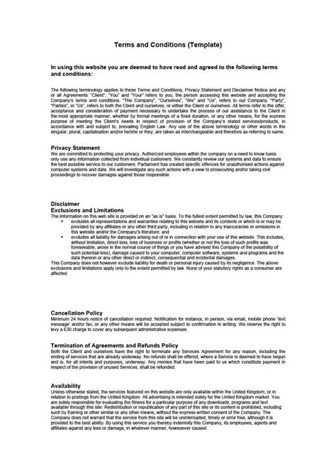 terms and conditions of service template 40 free terms and conditions templates for any website