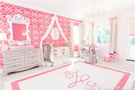 Ivory And Coral Girl S Nursery By Little Crown Interiors Nursery Interior Designer