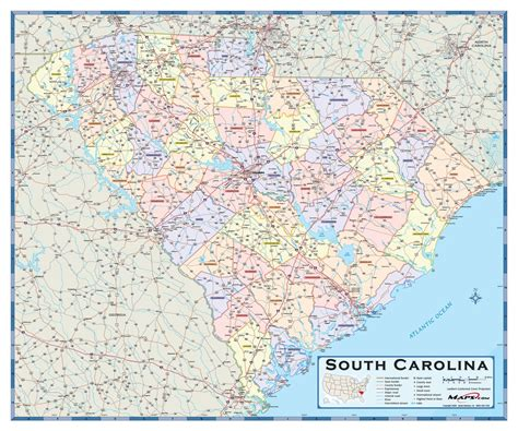 carolina counties map south carolina counties wall map maps
