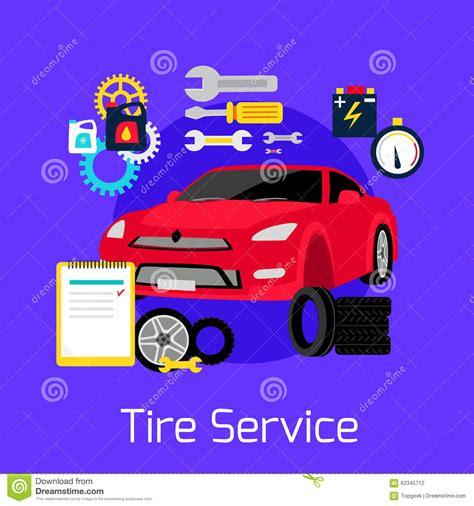 Tire service automobile flat concept stock vector image 62345712