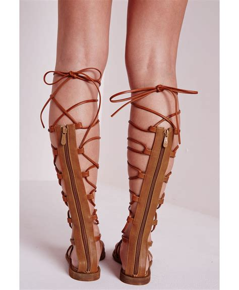 brown lace up sandals missguided flat lace up gladiator sandals in brown lyst