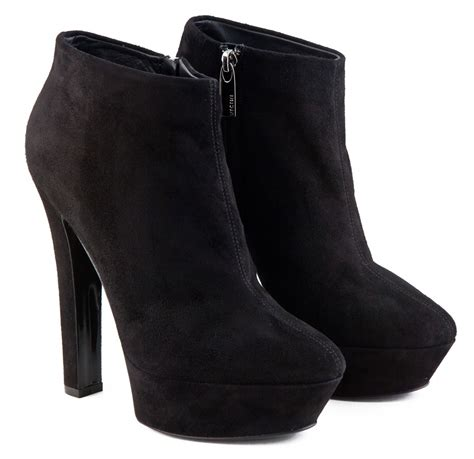 high heel black leather ankle boots https