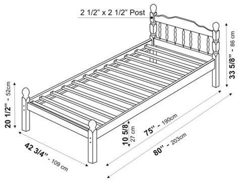 measurements for twin bed chester platform bed twin by palace imports