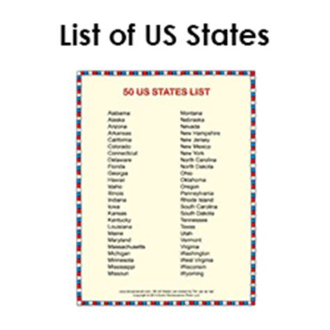 list of the 50 states tim van de vall comics printables for kids