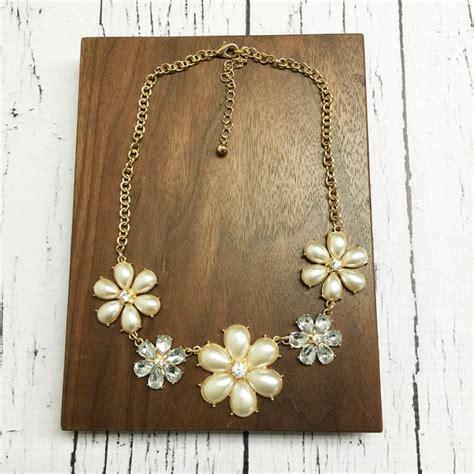 Faux Pearl Flower Earrings faux pearl flower necklace with dangle earrings bellechic