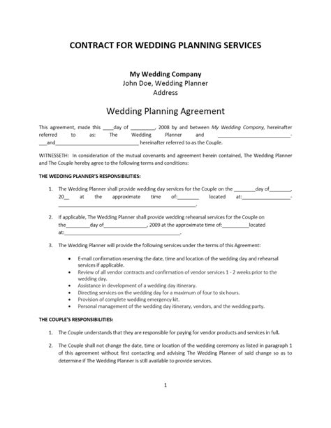 wedding contract template wedding planner contract template