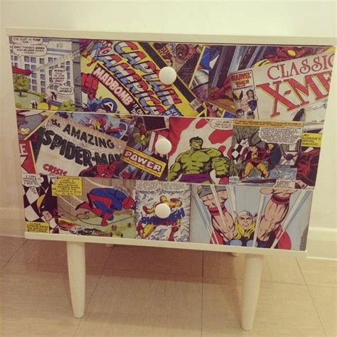 Comic Decoupage - retro marvel comic decoupage chest of drawers cabinet