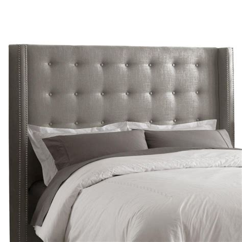 tufted headboard canada king nail button tufted headboard in linen grey with