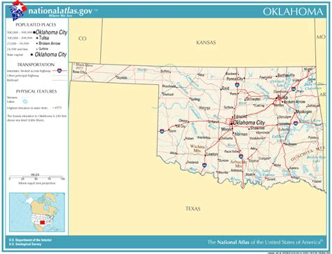 geographical map of oklahoma united states geography for oklahoma