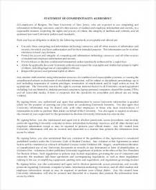 statement of confidentiality template sle financial confidentiality agreement 6 documents