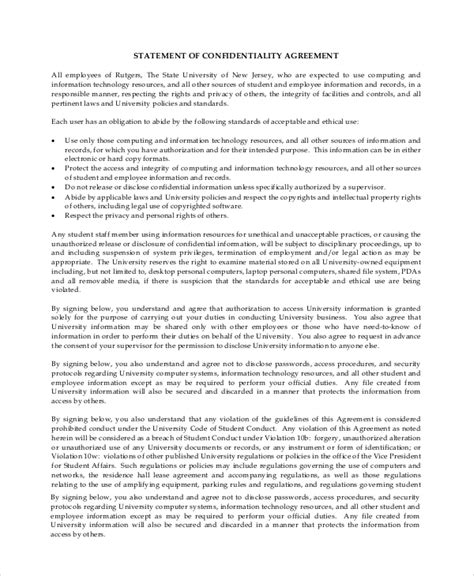 statement of agreement template sle financial confidentiality agreement 6 documents