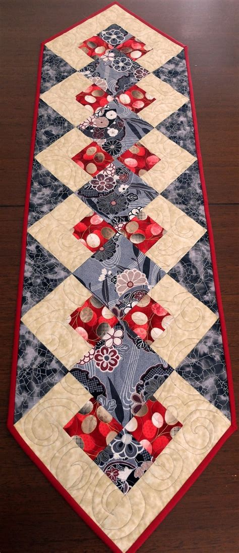 patchwork quilted black and table runner by