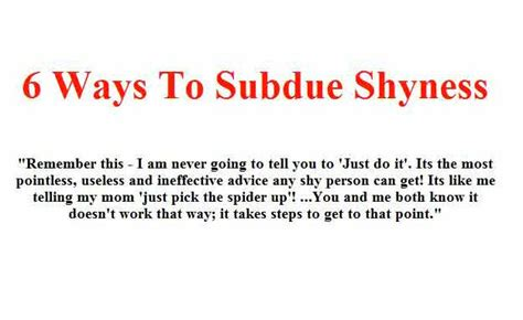 how to a to come ways to subdue shyness part 1