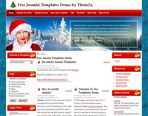 christmas themes websites christmas spirit free joomla template from themza
