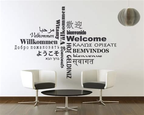 welcome wall stickers welcome typography wall sticker welcome decal office and