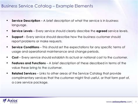business service catalogue template successful service catalog implementation