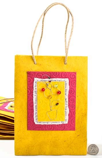 Handmade Paper Gift Bags - yellow handmade paper gift bags set of 10 favor boxes
