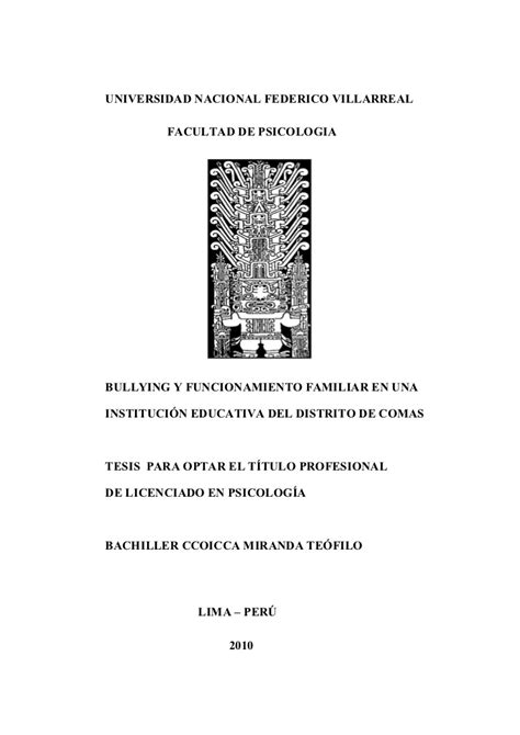 thesis de bullying bullying y funcionamiento familiar