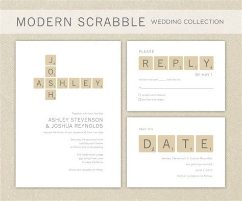 scrabble invitations wedding invitations modern scrabble wedding invitation