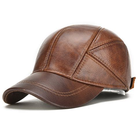 Trucker Hat 3seconds Genuine High Quality high quality mens winter genuine leather baseball caps with ear flaps outdoor warm trucker