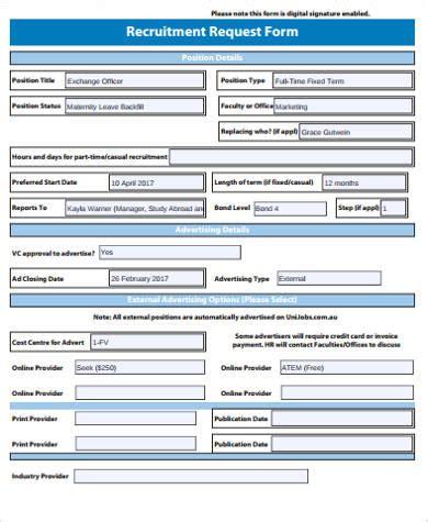 recruitment form template 7 sle recruitment request forms sle templates