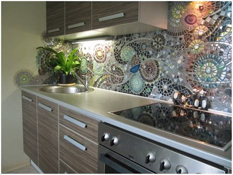 Recycled Glass Backsplashes For Kitchens Diy Mosaic Back Splash For Your Kitchen Beesdiy