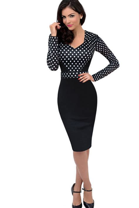 Black Slim Dress kettymore polka dots slim skirt sleeves dress