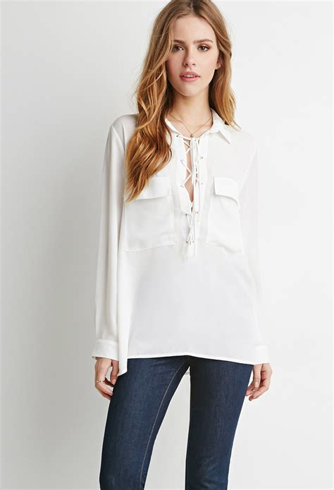 forever 21 lace up pocket blouse in white lyst