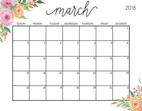 printable calendar 2018 pretty floral march 2018 philippines calendar 2018 printable