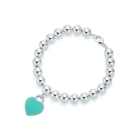 Return to Tiffany® heart tag in sterling silver on a bead bracelet, medium.   Tiffany & Co.