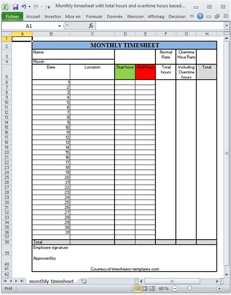 overtime timesheet template monthly printable excel timesheet with total hours and