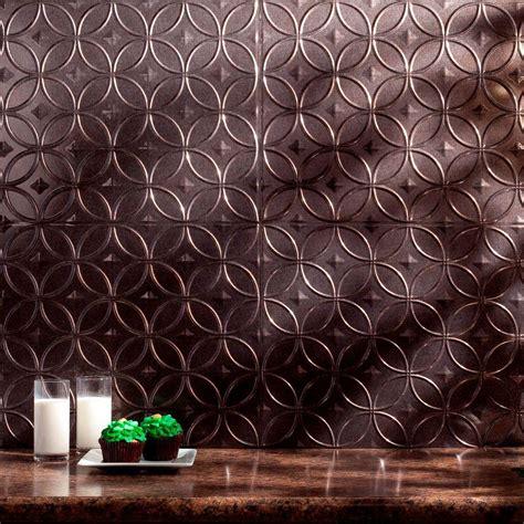 Kitchen Copper Backsplash - fasade 24 in x 18 in rings pvc decorative backsplash panel in smoked pewter b61 27 the home