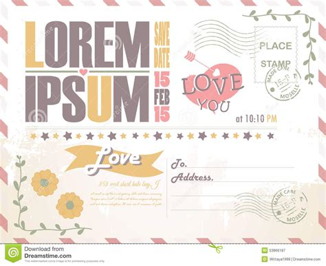 einladung postkarten hochzeit wedding invitation postcard background vector template